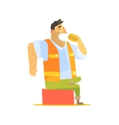 Builder eating lunch on construction site vector