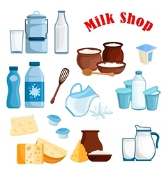 Milk shop and dairy products isolated icons vector