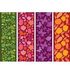 Set of four plants and butterflies horizontal vector image