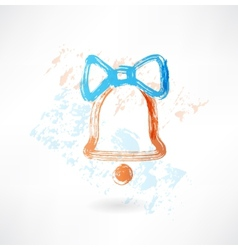bell with a bow grunge icon vector image