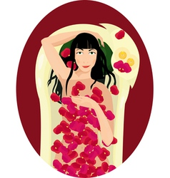 Black haired woman takes a bath with rose petals vector