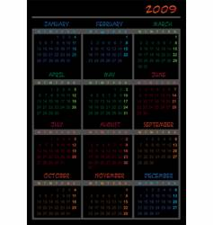 Black calendar for 2009 vector