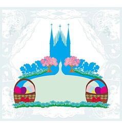 Abstract card church and easter eggs vector