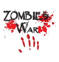 The word zombie war for horror in a bloody vector