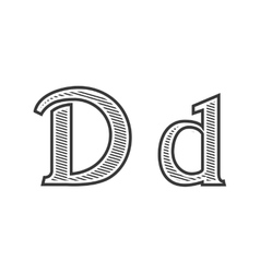 Font tattoo engraving letter d with shading vector