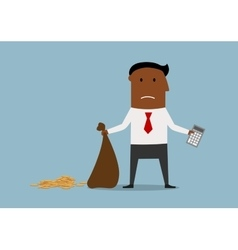 Bankrupt businessman with empty money bag vector