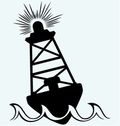 Warning buoy off the coast vector image