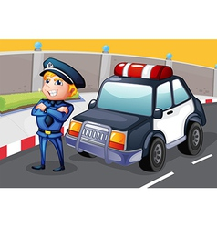A policeman standing beside his patrol car vector image vector image