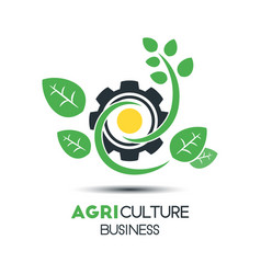 agriculture business logo template green leaf vector image vector image