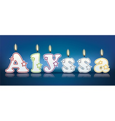 Alyssa written with burning candles vector