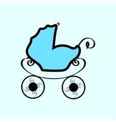 Baby blue vintage pram vector image