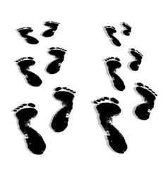 Black prints of human feet vector image