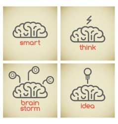 Brain logo set vector image