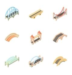Bridge transition icons set cartoon style vector