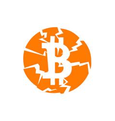 Broken bitcoin sign on white isolated vector