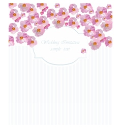 Card with watercolor flower frame vector