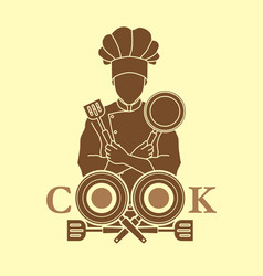 Chef and cook font design with pan and spatula vector