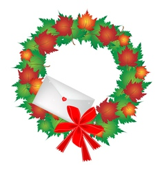 Christmas wreath of maple leaves and envelope vector