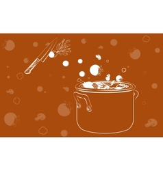 cooking soup with vegetables background vector image