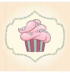 cupcake with pearls vector image