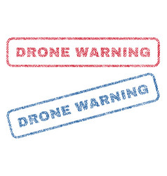 Drone warning textile stamps vector
