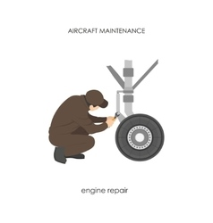 Engineer repairing aircraft landing gear vector