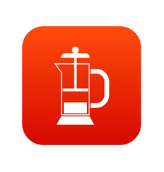 french press coffee maker icon digital red vector image vector image