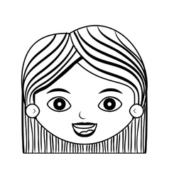 Front face lady silhouette with hair striped short vector
