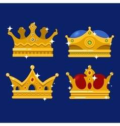 Golden crown of emperor icon or monarch tiara vector