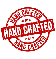 Hand crafted round red grunge stamp vector