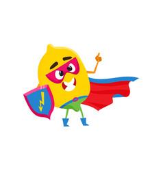 Lemon character in superhero costume with shield vector