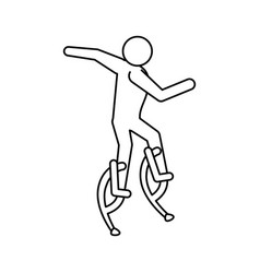 Line pictogram man jumping with a skyrunner vector