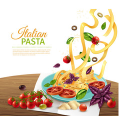 pasta concept poster vector image vector image
