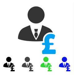 Pound banker flat icon vector
