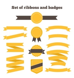 Set of yellow ribbons and badges vector image