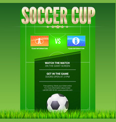 Soccer event poster design with green football vector