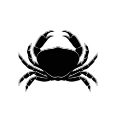 The Silhouette Of A Crab Isolated On White vector image