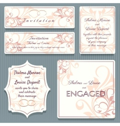 Variety wedding invitation card elemets vector