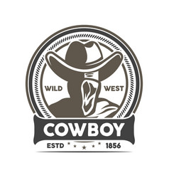 wild west cowboy vintage isolated label vector image