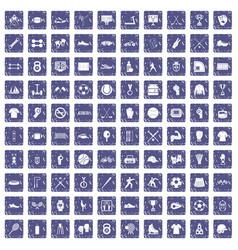 100 athlete icons set grunge sapphire vector