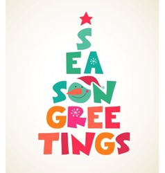 Christmas tree with season greetings cute cutout vector