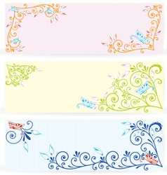 Butterfly on swirl texture banners vector