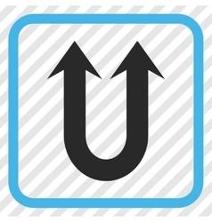 Double forward arrow icon in a frame vector