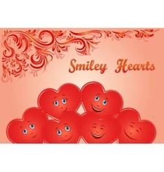 Valentine holiday hearts faces vector