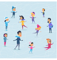 Different cartoon people on icerink in winter vector