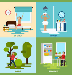 Morning character icon set vector