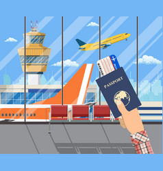 Man with passport and boarding pass vector