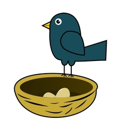 Blue bird in nest vector image