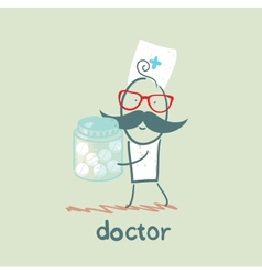 Doctor with pills vector