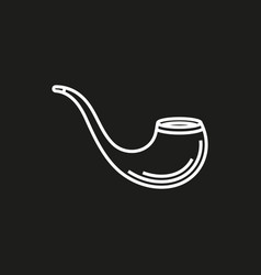 tobacco pipe simple icon on black background vector image